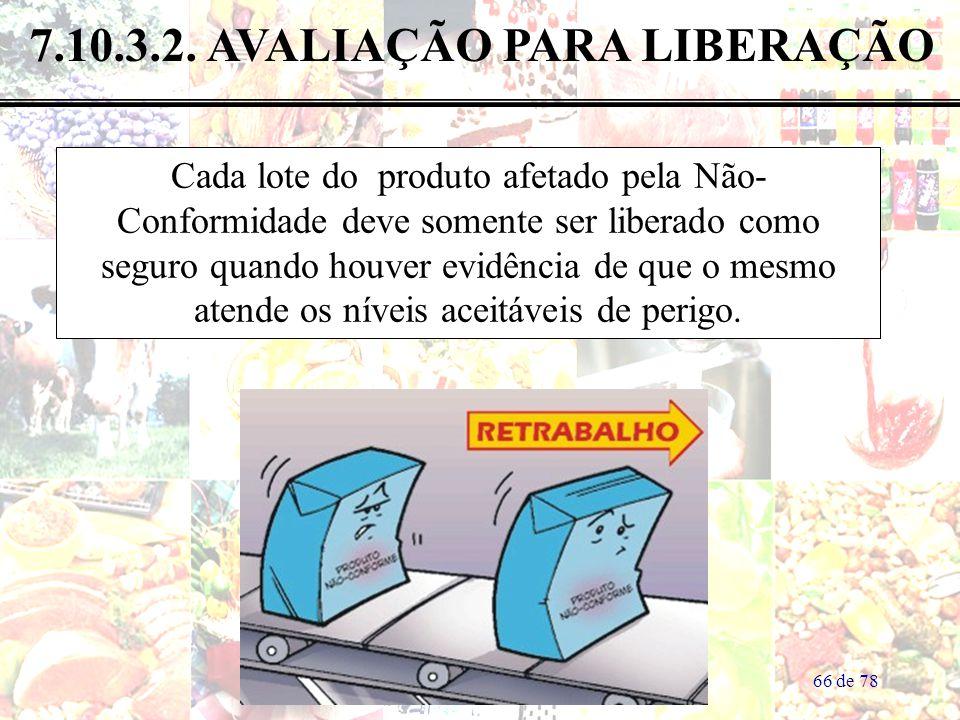 66 de 78 7.10.3.2. AVALIAÇÃO PARA LIBERAÇÃO Cada lote do produto afetado pela Não- Conformidade deve somente ser liberado como seguro quando houver ev