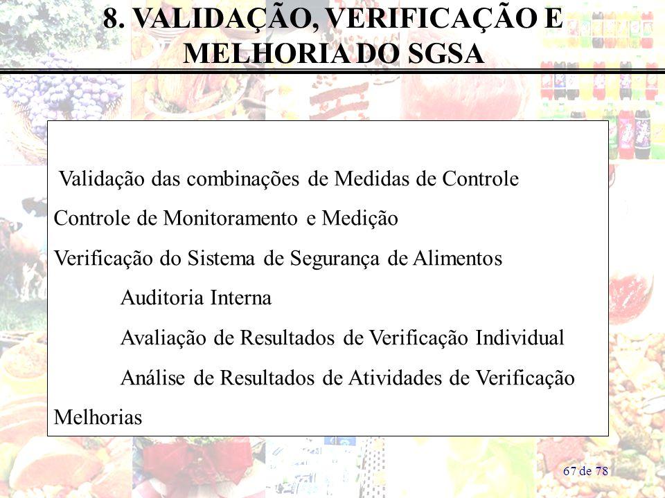 67 de 78 8. VALIDAÇÃO, VERIFICAÇÃO E MELHORIA DO SGSA Validação das combinações de Medidas de Controle Controle de Monitoramento e Medição Verificação