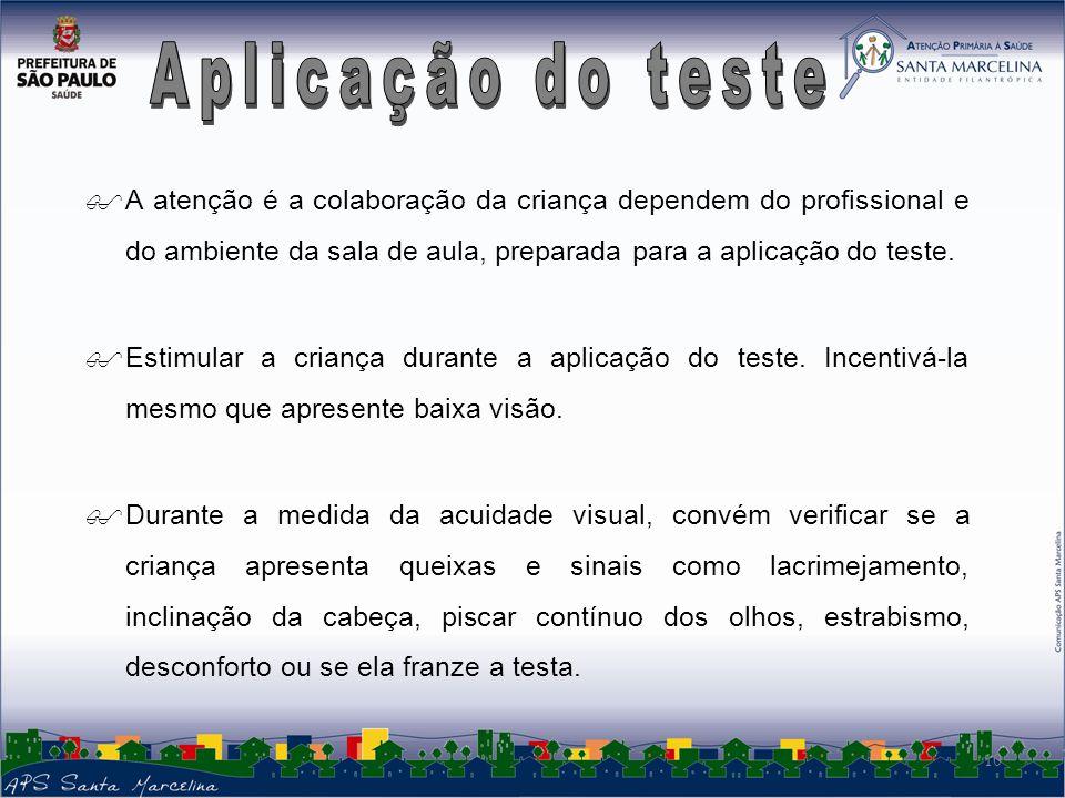 A atenção é a colaboração da criança dependem do profissional e do ambiente da sala de aula, preparada para a aplicação do teste.