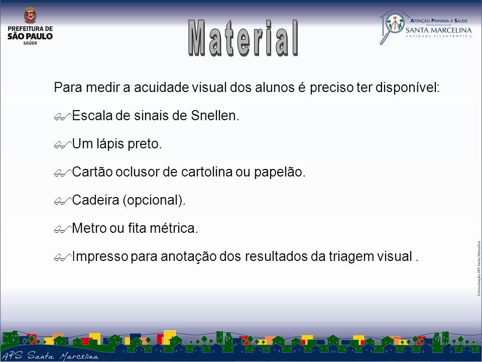 3 Para medir a acuidade visual dos alunos é preciso ter disponível: Escala de sinais de Snellen.