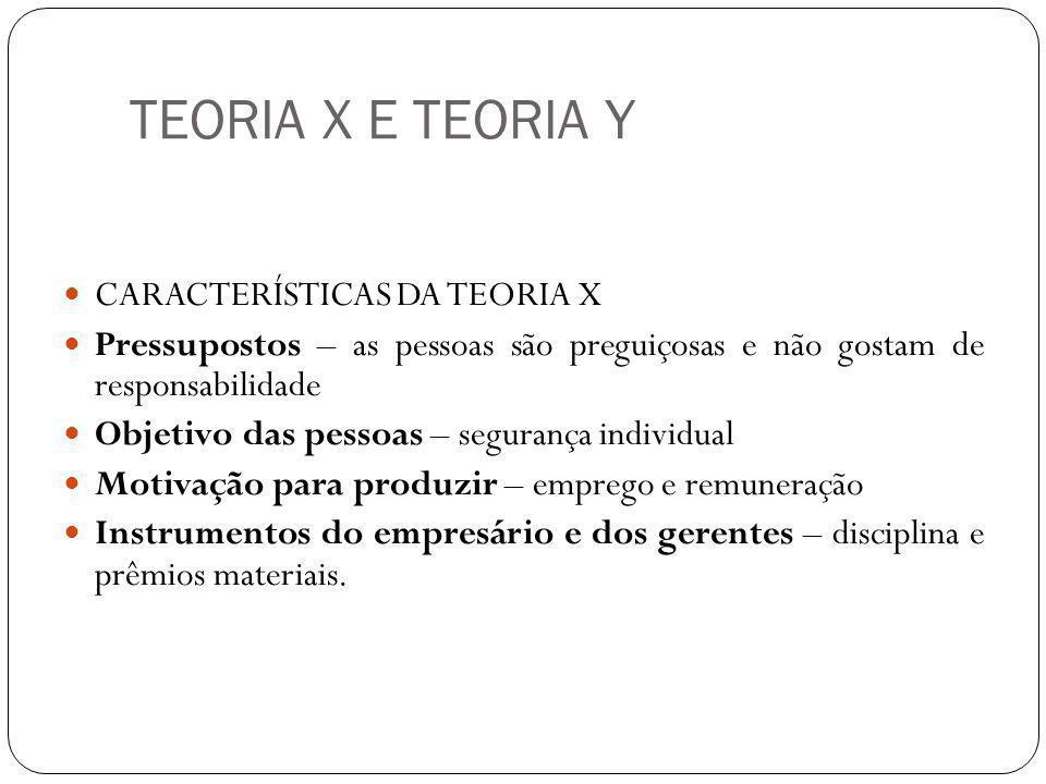 TEORIA X E TEORIA Y CARACTERÍSTICAS DA TEORIA X Pressupostos – as pessoas são preguiçosas e não gostam de responsabilidade Objetivo das pessoas – segu