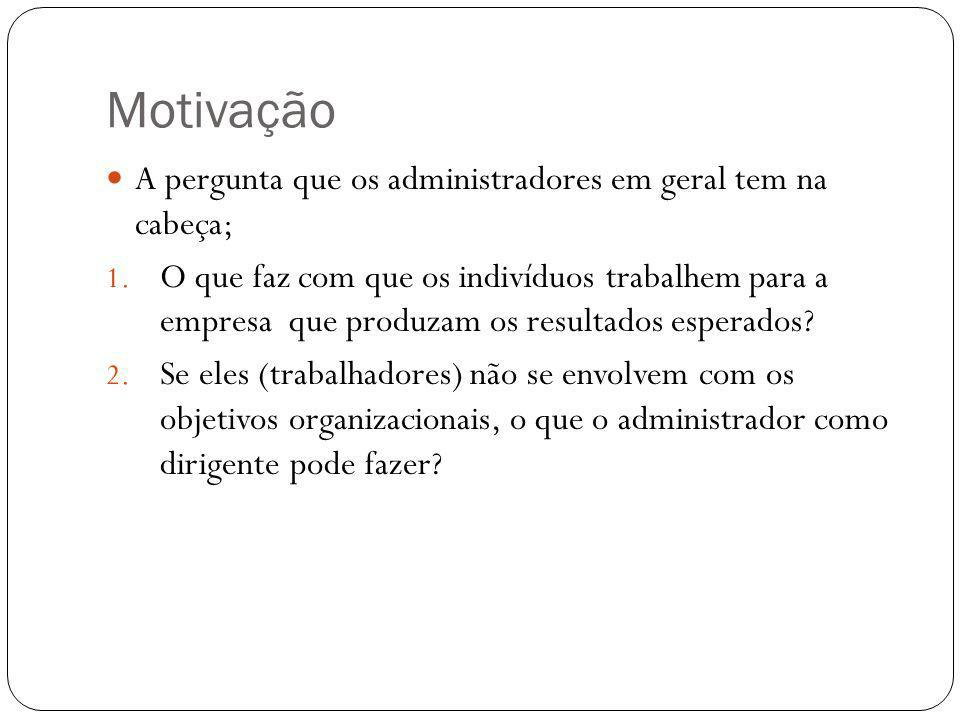 Motivação A pergunta que os administradores em geral tem na cabeça; 1. O que faz com que os indivíduos trabalhem para a empresa que produzam os result