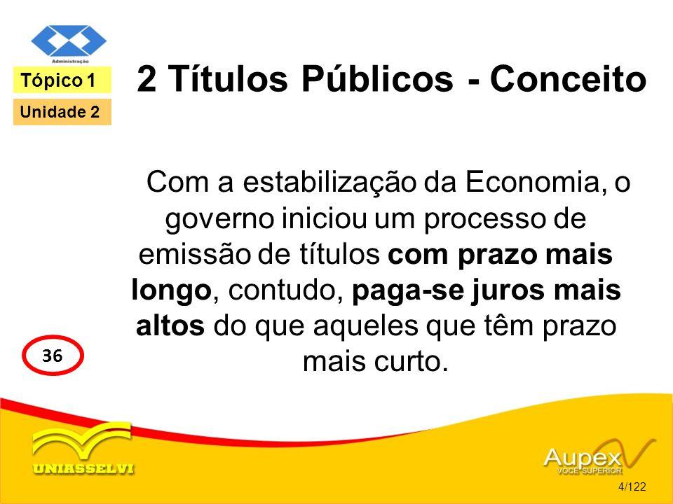 2 Títulos Públicos - Conceito Com a estabilização da Economia, o governo iniciou um processo de emissão de títulos com prazo mais longo, contudo, paga