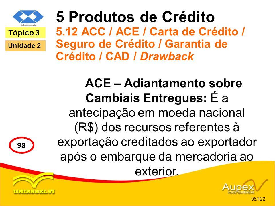 5 Produtos de Crédito 5.12 ACC / ACE / Carta de Crédito / Seguro de Crédito / Garantia de Crédito / CAD / Drawback ACE – Adiantamento sobre Cambiais E