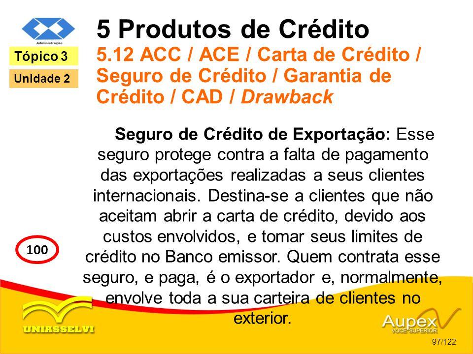 5 Produtos de Crédito 5.12 ACC / ACE / Carta de Crédito / Seguro de Crédito / Garantia de Crédito / CAD / Drawback Seguro de Crédito de Exportação: Es