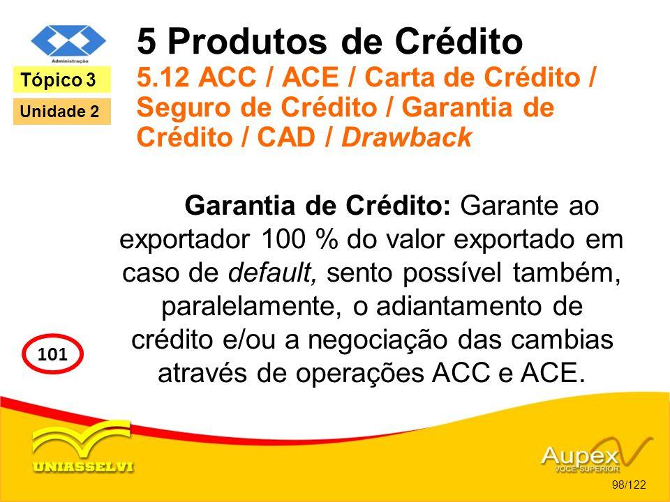 5 Produtos de Crédito 5.12 ACC / ACE / Carta de Crédito / Seguro de Crédito / Garantia de Crédito / CAD / Drawback Garantia de Crédito: Garante ao exp