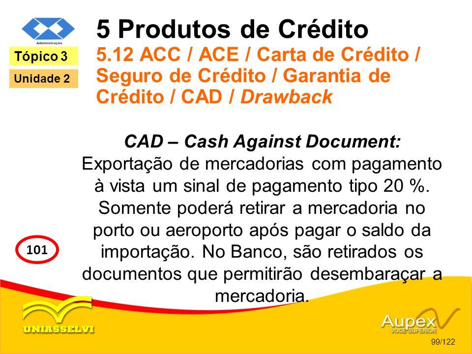 5 Produtos de Crédito 5.12 ACC / ACE / Carta de Crédito / Seguro de Crédito / Garantia de Crédito / CAD / Drawback CAD – Cash Against Document: Export