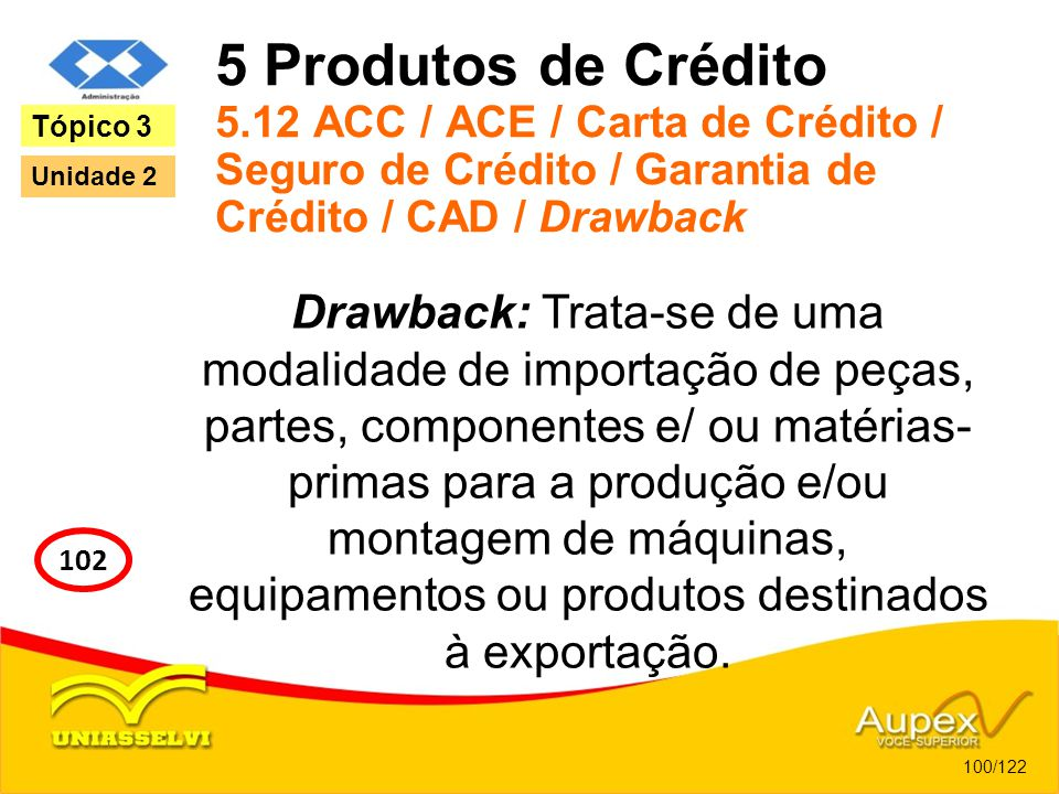 5 Produtos de Crédito 5.12 ACC / ACE / Carta de Crédito / Seguro de Crédito / Garantia de Crédito / CAD / Drawback Drawback: Trata-se de uma modalidad