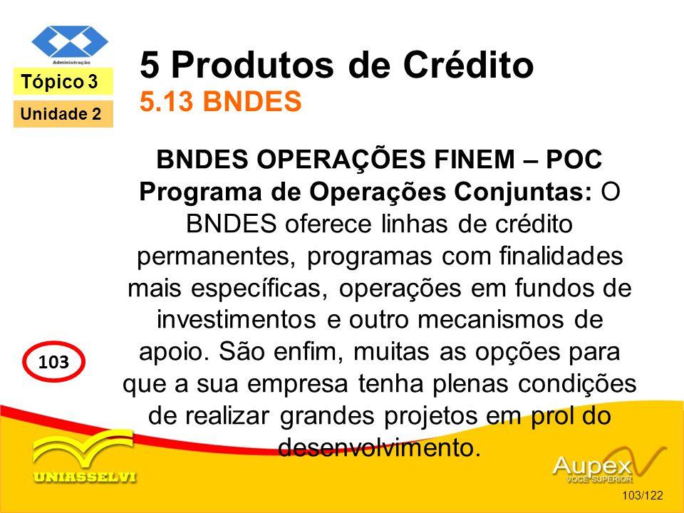5 Produtos de Crédito 5.13 BNDES BNDES OPERAÇÕES FINEM – POC Programa de Operações Conjuntas: O BNDES oferece linhas de crédito permanentes, programas