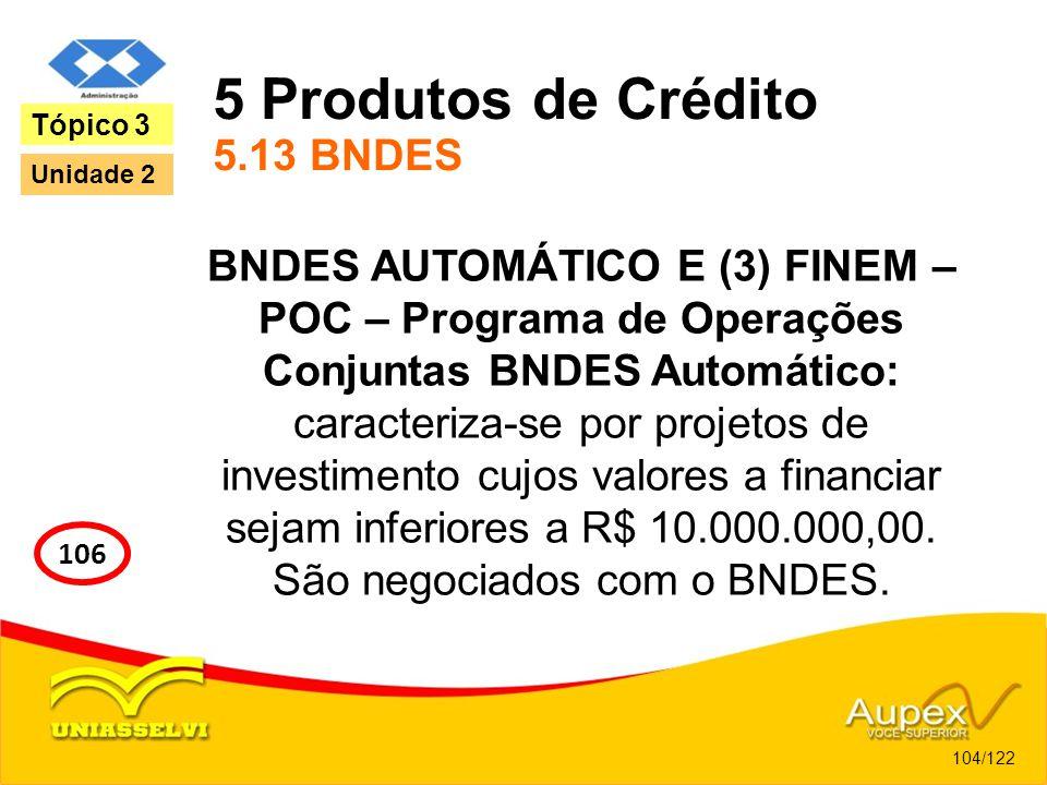 5 Produtos de Crédito 5.13 BNDES BNDES AUTOMÁTICO E (3) FINEM – POC – Programa de Operações Conjuntas BNDES Automático: caracteriza-se por projetos de