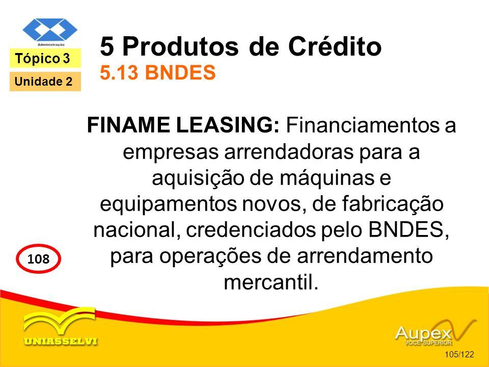 5 Produtos de Crédito 5.13 BNDES FINAME LEASING: Financiamentos a empresas arrendadoras para a aquisição de máquinas e equipamentos novos, de fabricaç