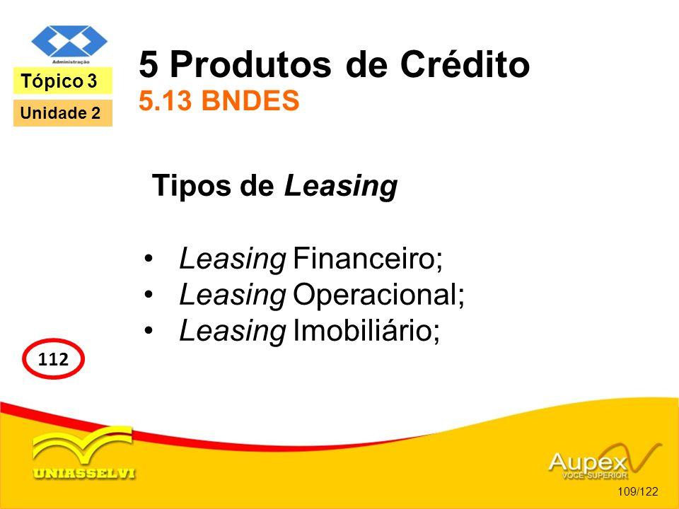 5 Produtos de Crédito 5.13 BNDES Tipos de Leasing Leasing Financeiro; Leasing Operacional; Leasing Imobiliário; 109/122 Tópico 3 112 Unidade 2