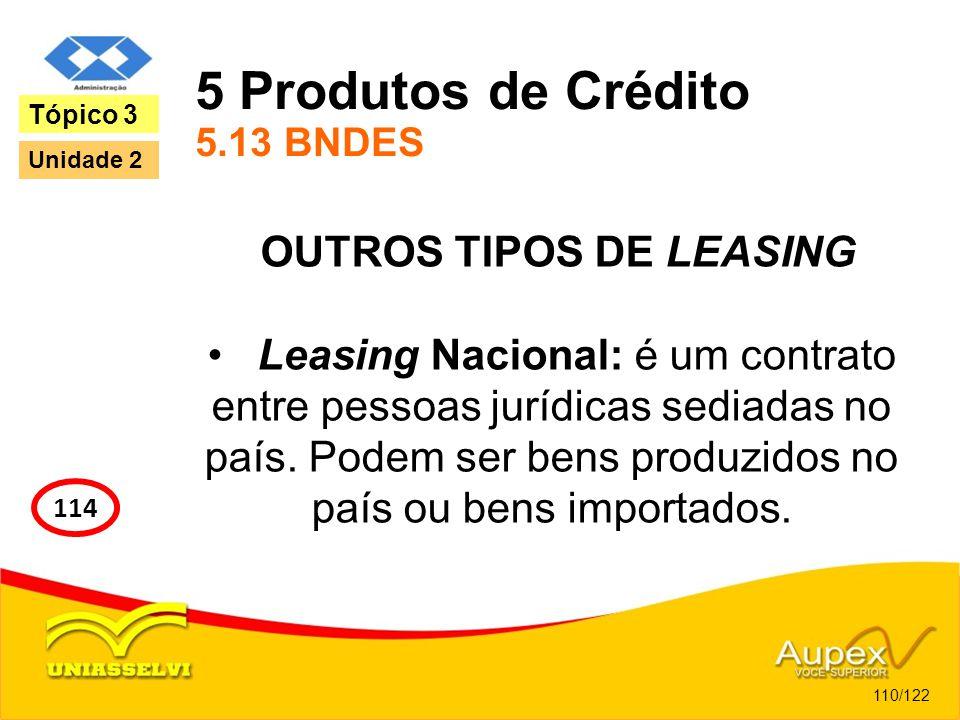 5 Produtos de Crédito 5.13 BNDES OUTROS TIPOS DE LEASING Leasing Nacional: é um contrato entre pessoas jurídicas sediadas no país. Podem ser bens prod
