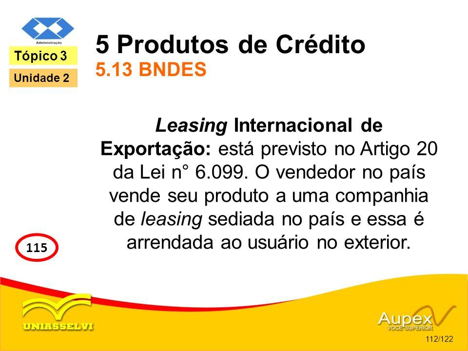 5 Produtos de Crédito 5.13 BNDES Leasing Internacional de Exportação: está previsto no Artigo 20 da Lei n° 6.099. O vendedor no país vende seu produto