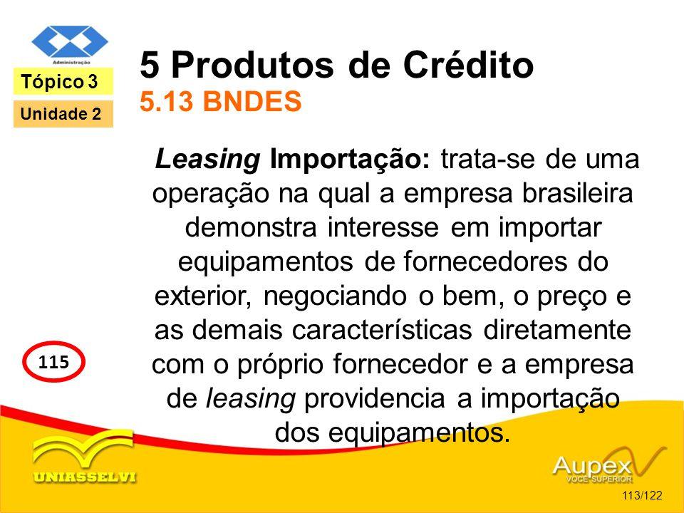 5 Produtos de Crédito 5.13 BNDES Leasing Importação: trata-se de uma operação na qual a empresa brasileira demonstra interesse em importar equipamento