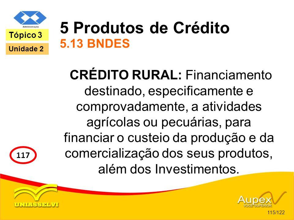 5 Produtos de Crédito 5.13 BNDES CRÉDITO RURAL: Financiamento destinado, especificamente e comprovadamente, a atividades agrícolas ou pecuárias, para