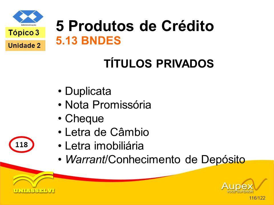 5 Produtos de Crédito 5.13 BNDES TÍTULOS PRIVADOS Duplicata Nota Promissória Cheque Letra de Câmbio Letra imobiliária Warrant/Conhecimento de Depósito