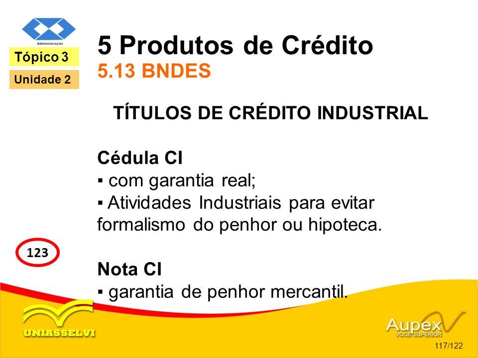 5 Produtos de Crédito 5.13 BNDES TÍTULOS DE CRÉDITO INDUSTRIAL Cédula CI com garantia real; Atividades Industriais para evitar formalismo do penhor ou