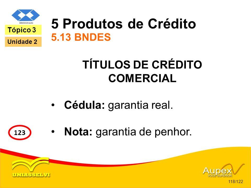 5 Produtos de Crédito 5.13 BNDES TÍTULOS DE CRÉDITO COMERCIAL Cédula: garantia real. Nota: garantia de penhor. 118/122 Tópico 3 123 Unidade 2
