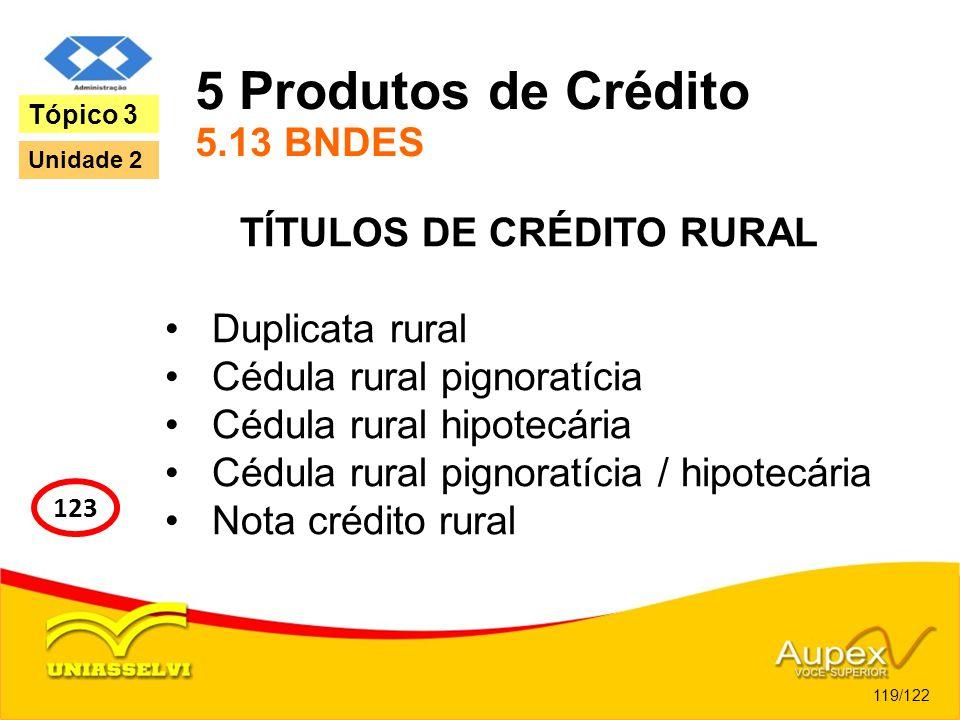 5 Produtos de Crédito 5.13 BNDES TÍTULOS DE CRÉDITO RURAL Duplicata rural Cédula rural pignoratícia Cédula rural hipotecária Cédula rural pignoratícia