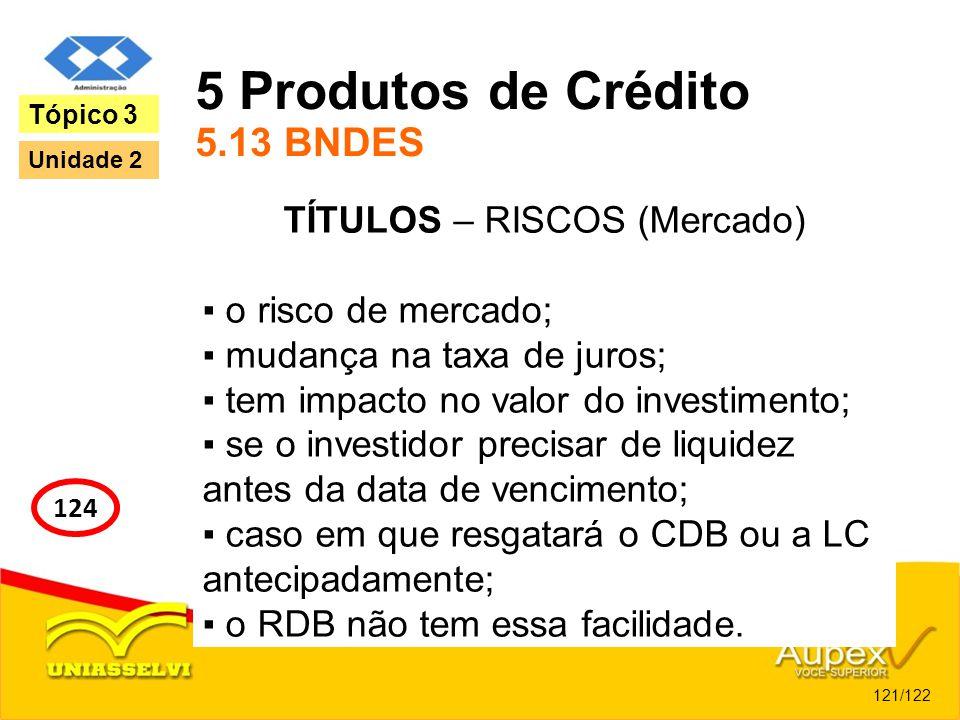 5 Produtos de Crédito 5.13 BNDES TÍTULOS – RISCOS (Mercado) o risco de mercado; mudança na taxa de juros; tem impacto no valor do investimento; se o i