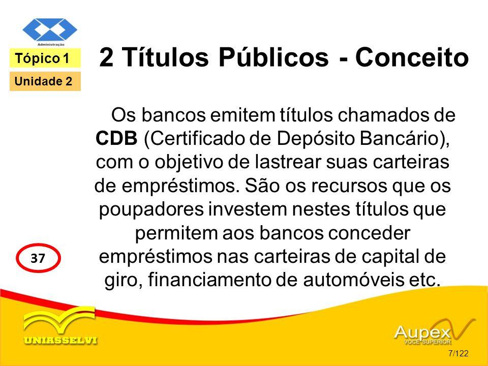 2 Títulos Públicos - Conceito Os bancos emitem títulos chamados de CDB (Certificado de Depósito Bancário), com o objetivo de lastrear suas carteiras d