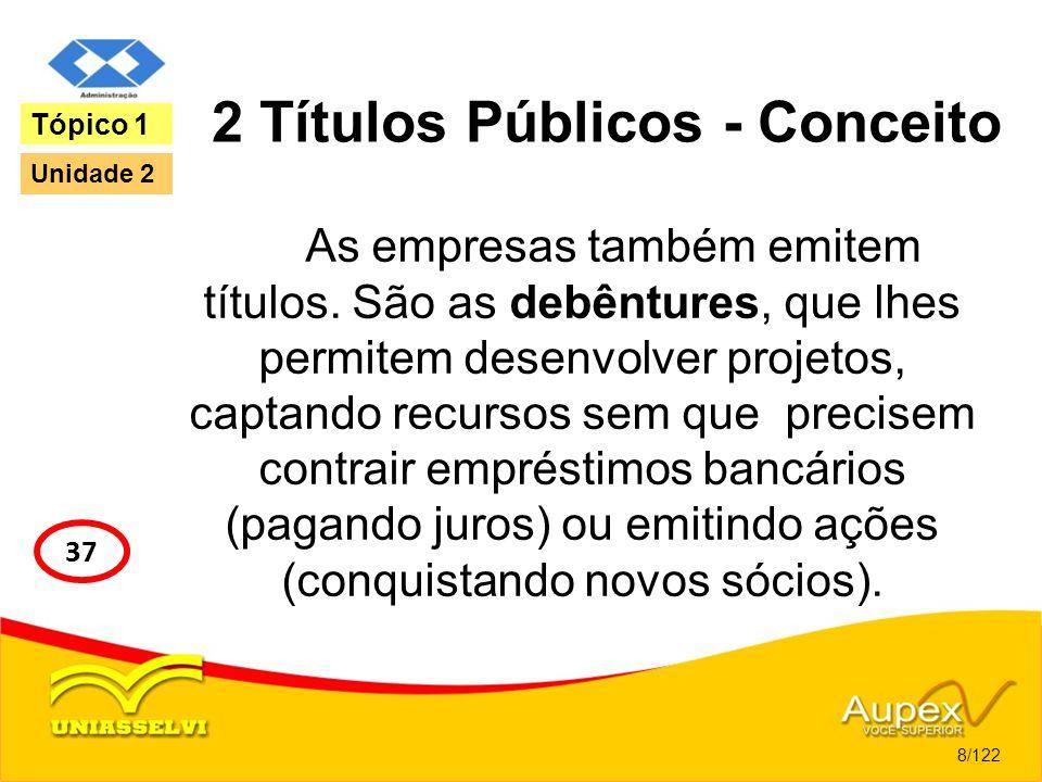 2 Títulos Públicos - Conceito As empresas também emitem títulos. São as debêntures, que lhes permitem desenvolver projetos, captando recursos sem que