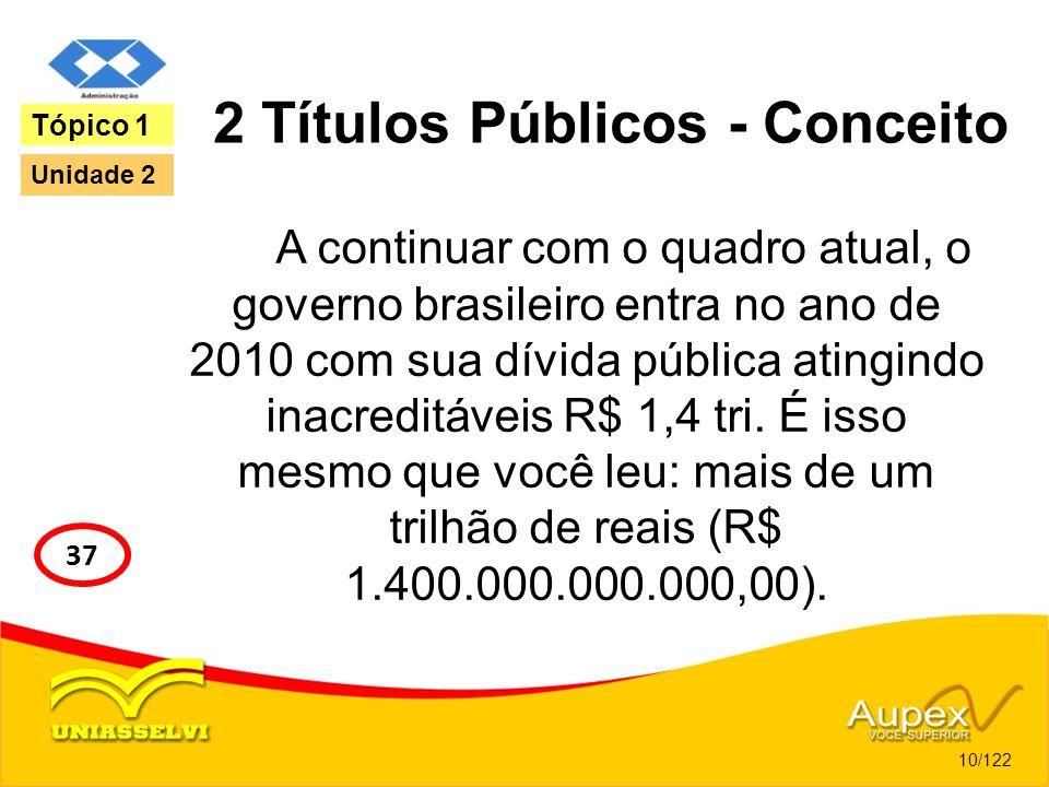 2 Títulos Públicos - Conceito A continuar com o quadro atual, o governo brasileiro entra no ano de 2010 com sua dívida pública atingindo inacreditávei