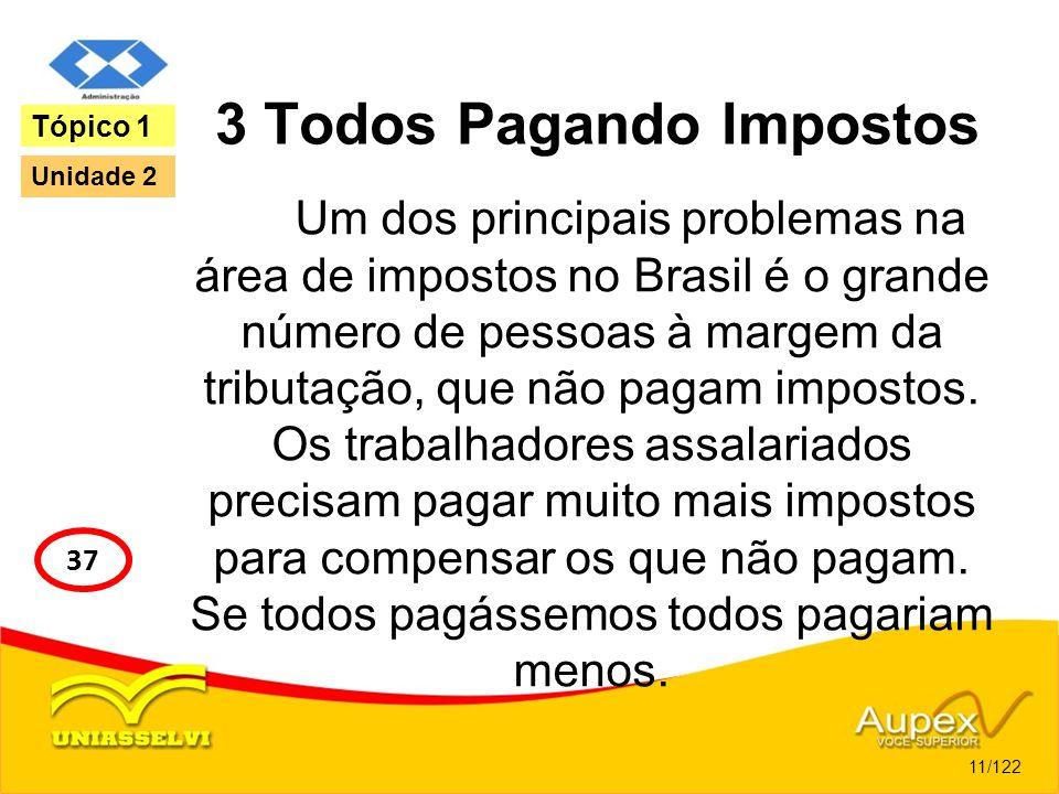 3 Todos Pagando Impostos Um dos principais problemas na área de impostos no Brasil é o grande número de pessoas à margem da tributação, que não pagam