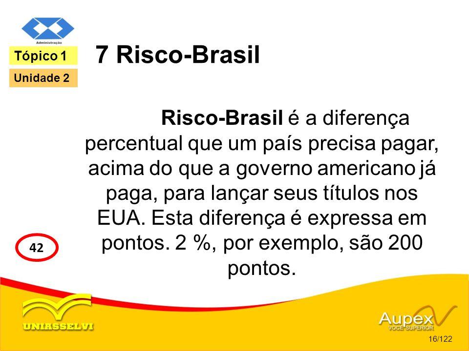7 Risco-Brasil Risco-Brasil é a diferença percentual que um país precisa pagar, acima do que a governo americano já paga, para lançar seus títulos nos