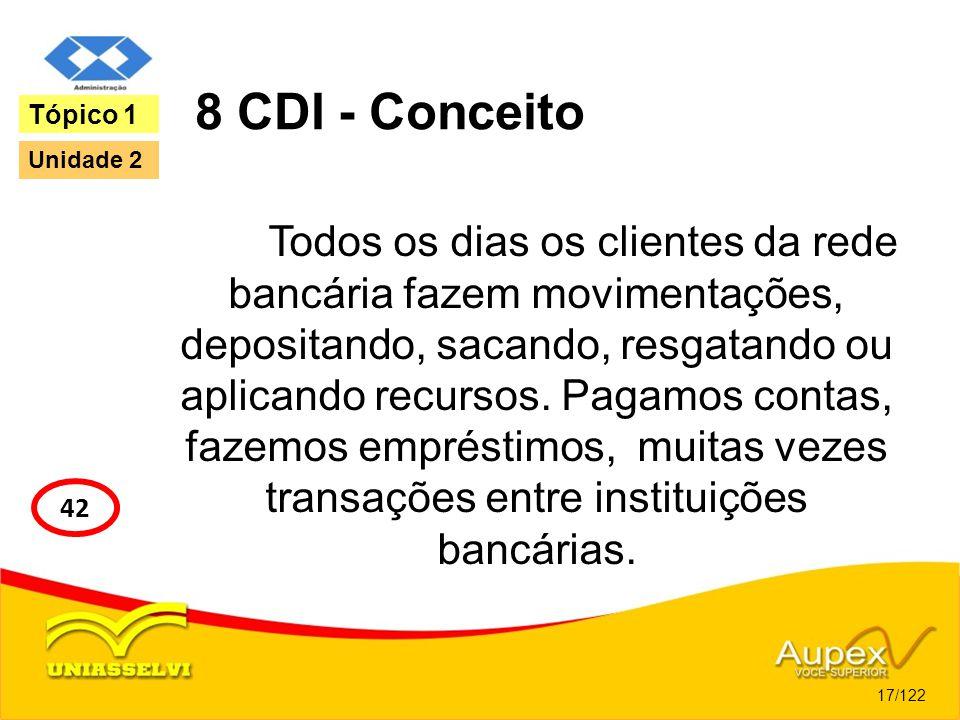 8 CDI - Conceito Todos os dias os clientes da rede bancária fazem movimentações, depositando, sacando, resgatando ou aplicando recursos. Pagamos conta