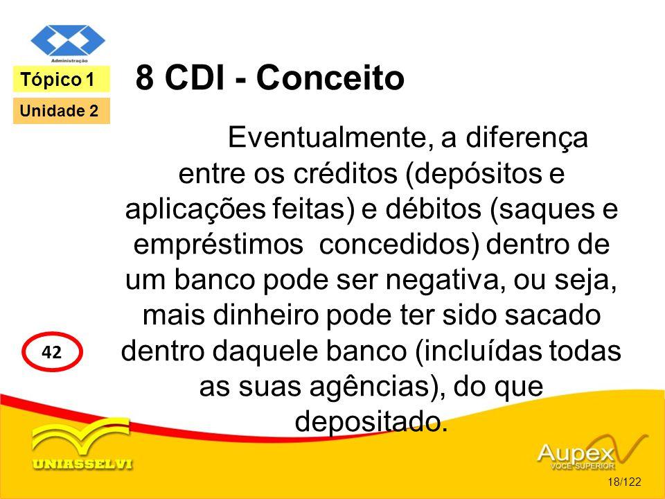 8 CDI - Conceito Eventualmente, a diferença entre os créditos (depósitos e aplicações feitas) e débitos (saques e empréstimos concedidos) dentro de um