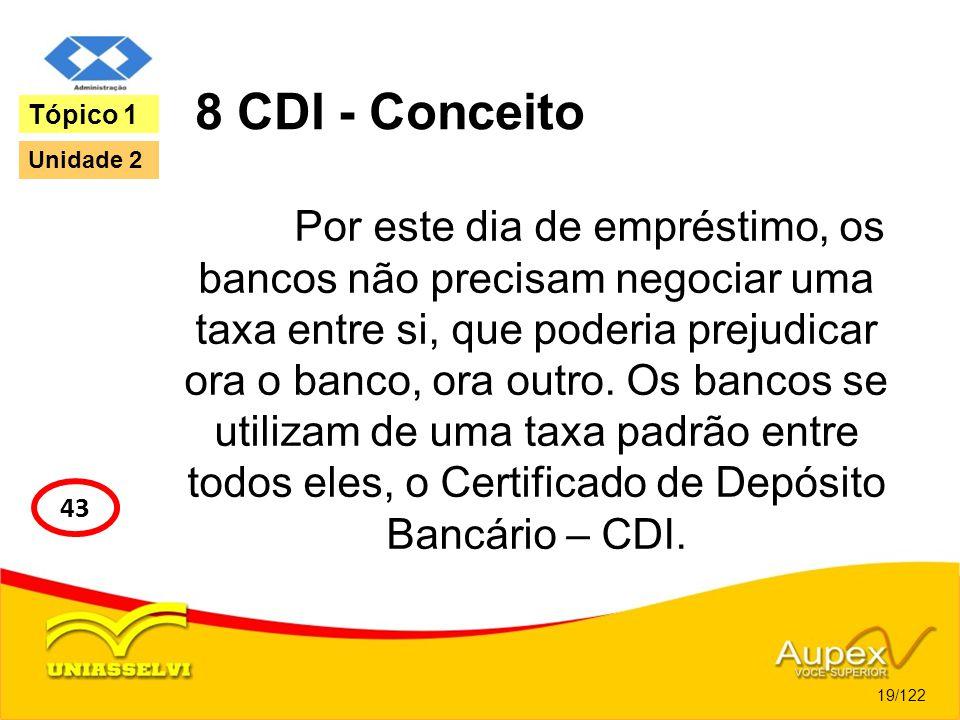 8 CDI - Conceito Por este dia de empréstimo, os bancos não precisam negociar uma taxa entre si, que poderia prejudicar ora o banco, ora outro. Os banc