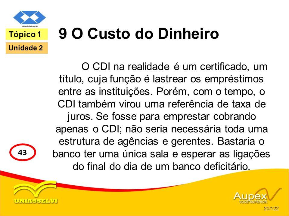 9 O Custo do Dinheiro O CDI na realidade é um certificado, um título, cuja função é lastrear os empréstimos entre as instituições. Porém, com o tempo,