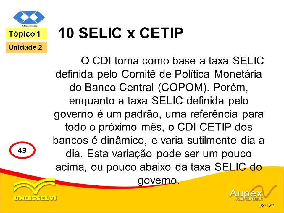 10 SELIC x CETIP O CDI toma como base a taxa SELIC definida pelo Comitê de Política Monetária do Banco Central (COPOM). Porém, enquanto a taxa SELIC d