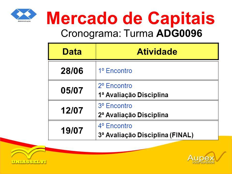 Cronograma: Turma ADG0096 Mercado de Capitais DataAtividade 28/06 1º Encontro 12/07 3º Encontro 2ª Avaliação Disciplina 19/07 4º Encontro 3ª Avaliação