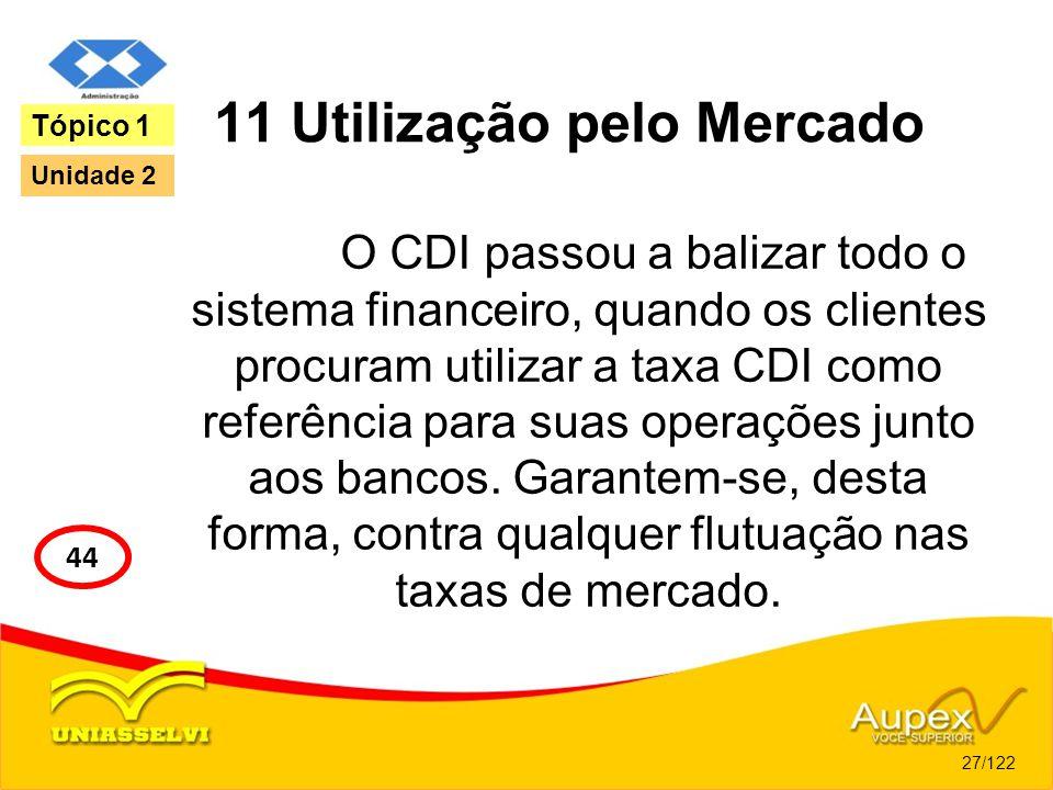 11 Utilização pelo Mercado O CDI passou a balizar todo o sistema financeiro, quando os clientes procuram utilizar a taxa CDI como referência para suas