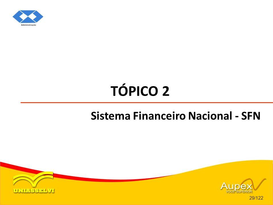 TÓPICO 2 29/122 Sistema Financeiro Nacional - SFN