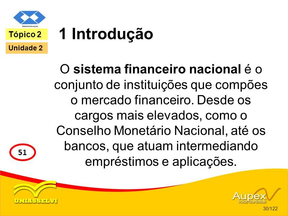 1 Introdução O sistema financeiro nacional é o conjunto de instituições que compões o mercado financeiro. Desde os cargos mais elevados, como o Consel