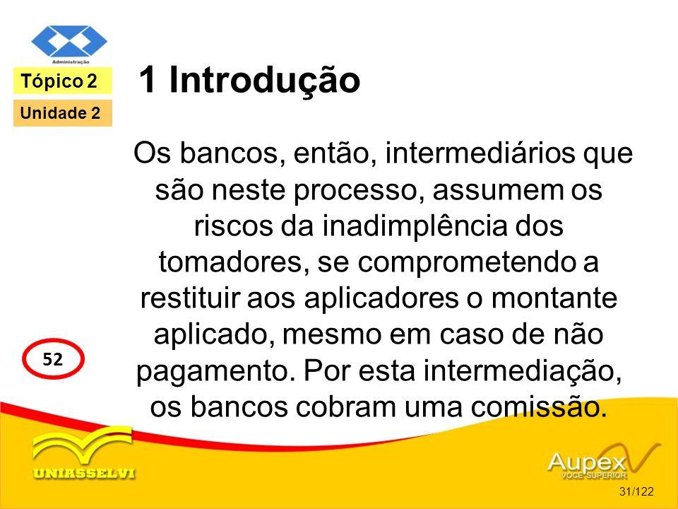 1 Introdução Os bancos, então, intermediários que são neste processo, assumem os riscos da inadimplência dos tomadores, se comprometendo a restituir a