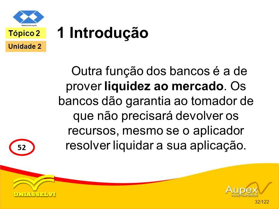 1 Introdução Outra função dos bancos é a de prover liquidez ao mercado. Os bancos dão garantia ao tomador de que não precisará devolver os recursos, m