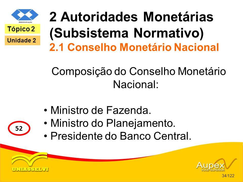 2 Autoridades Monetárias (Subsistema Normativo) 2.1 Conselho Monetário Nacional Composição do Conselho Monetário Nacional: Ministro de Fazenda. Minist