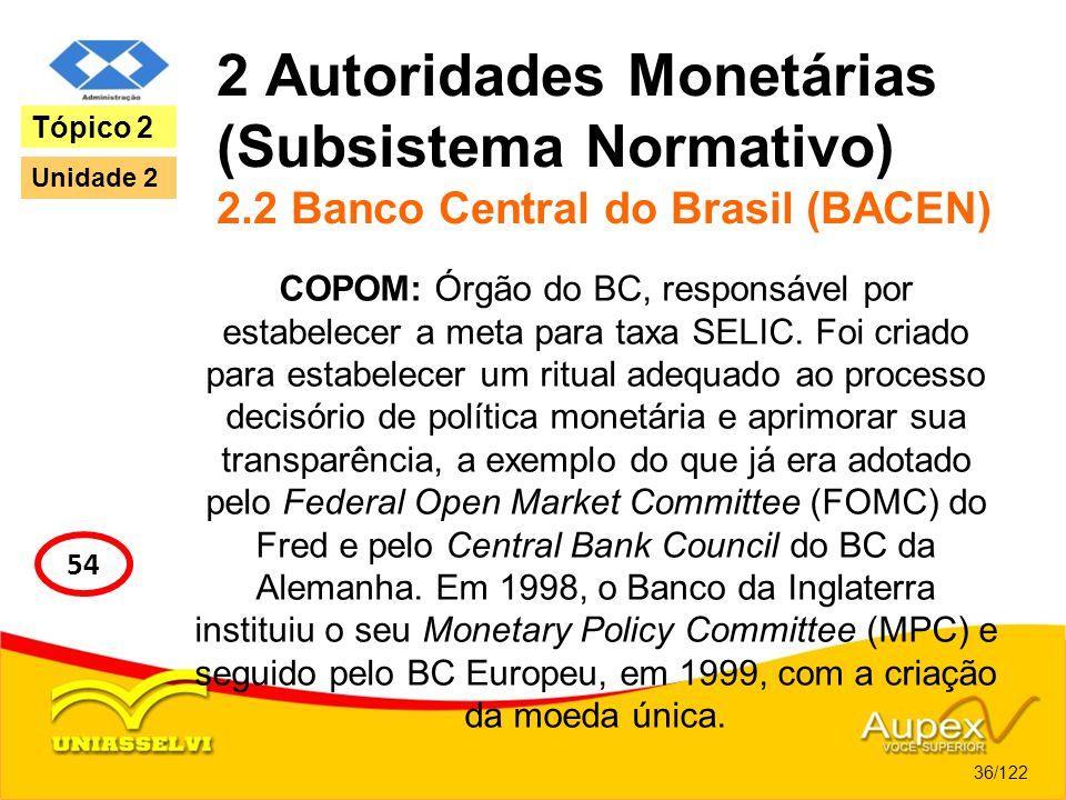2 Autoridades Monetárias (Subsistema Normativo) 2.2 Banco Central do Brasil (BACEN) COPOM: Órgão do BC, responsável por estabelecer a meta para taxa S