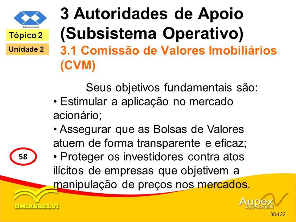 3 Autoridades de Apoio (Subsistema Operativo) 3.1 Comissão de Valores Imobiliários (CVM) Seus objetivos fundamentais são: Estimular a aplicação no mer