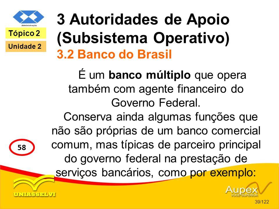3 Autoridades de Apoio (Subsistema Operativo) 3.2 Banco do Brasil É um banco múltiplo que opera também com agente financeiro do Governo Federal. Conse