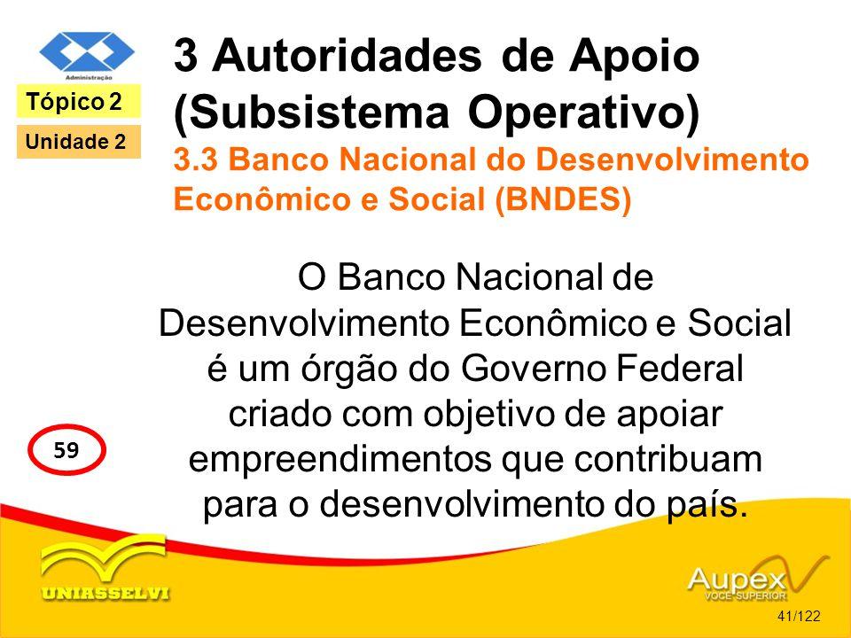 3 Autoridades de Apoio (Subsistema Operativo) 3.3 Banco Nacional do Desenvolvimento Econômico e Social (BNDES) O Banco Nacional de Desenvolvimento Eco