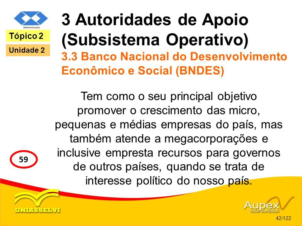3 Autoridades de Apoio (Subsistema Operativo) 3.3 Banco Nacional do Desenvolvimento Econômico e Social (BNDES) Tem como o seu principal objetivo promo