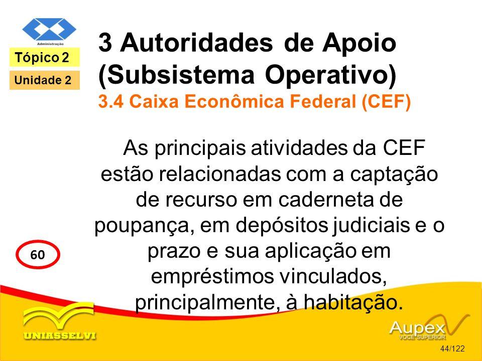 3 Autoridades de Apoio (Subsistema Operativo) 3.4 Caixa Econômica Federal (CEF) As principais atividades da CEF estão relacionadas com a captação de r