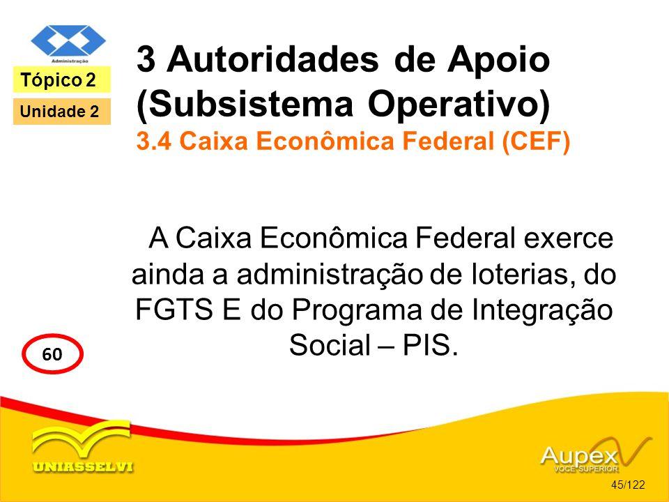 3 Autoridades de Apoio (Subsistema Operativo) 3.4 Caixa Econômica Federal (CEF) A Caixa Econômica Federal exerce ainda a administração de loterias, do
