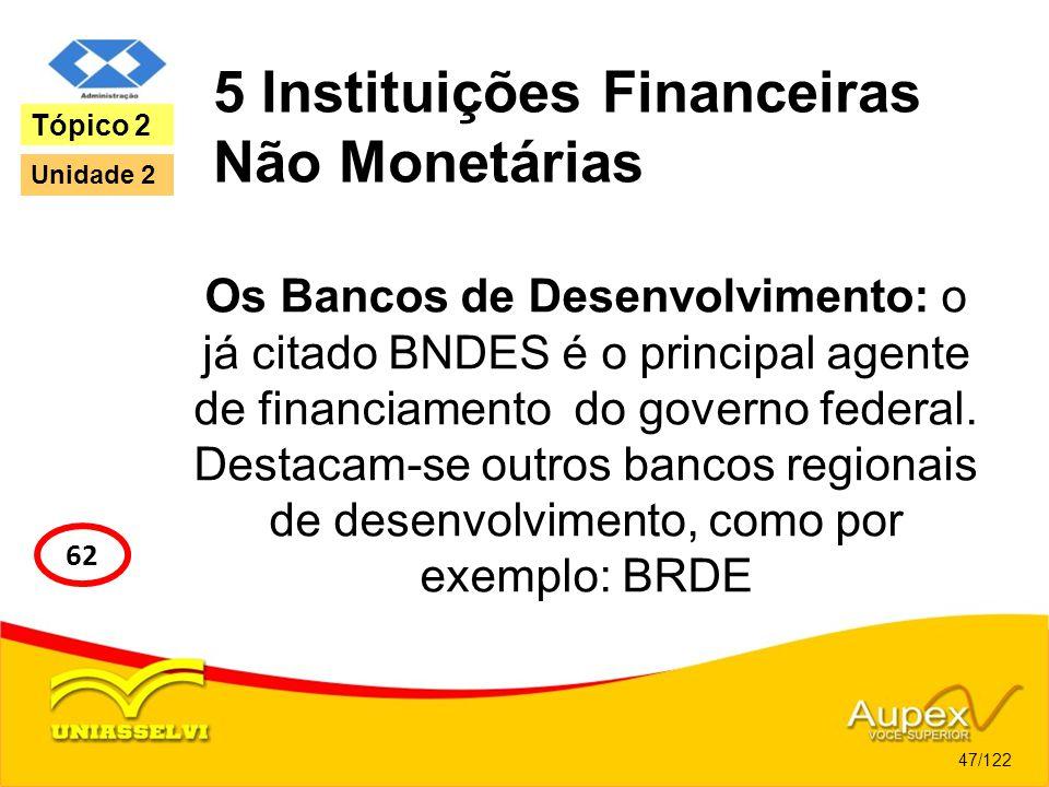 5 Instituições Financeiras Não Monetárias Os Bancos de Desenvolvimento: o já citado BNDES é o principal agente de financiamento do governo federal. De